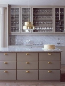 grey and gold kitchen