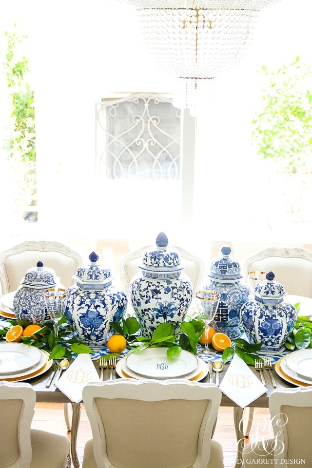Blue-and-white-citrus-centerpiece-