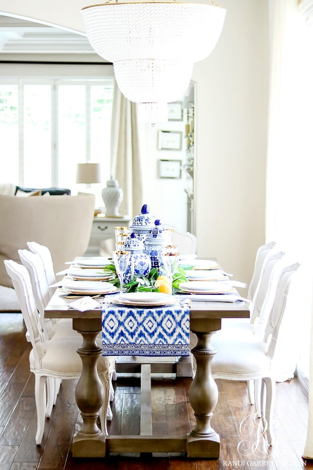 Blue-and-white-table-with-orange-leaves - Copy